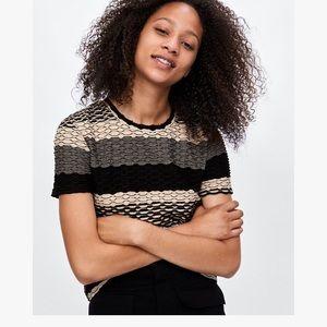 Zara Black White Gray Textured Short Sleeve Top